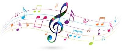 Naklejka Colorful music notes background isolated on white