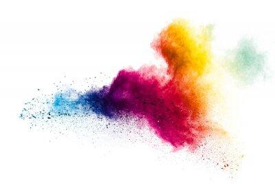 Naklejka Colorful powder explosion on white background.Pastel color dust particle splashing.