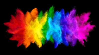 Naklejka colorful rainbow holi paint color big  double powder explosion isolated dark black wide panorama background. peace rgb beautiful party concept