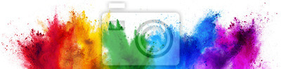 Naklejka colorful rainbow holi paint color powder explosion isolated white wide panorama background