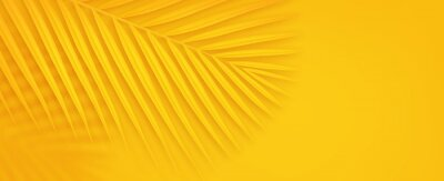 Naklejka Colorful summer background with copy space. Bright yellow 3d illustration of tropical palm branch.