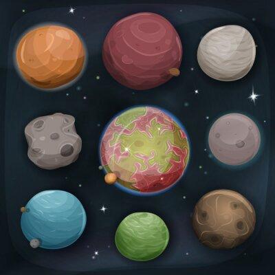Naklejka Comic Planety ustawiony na przestrzeni tła