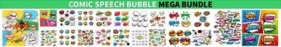 Naklejka Comic Speech Bubble Mega Bundle. Comic speech bubbles or sound replicas. Set Of Comics Explosion Bubbles, Color Comic Book Page Template, Comic speech bubbles set. Comic Speech Bubbles Vector eps 10