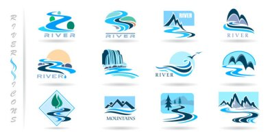 Naklejka Commercial icons of rivers and mountains