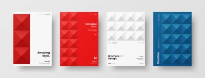 Naklejka Company identity brochure template collection. Business presentation vector A4 vertical orientation front page mock up set. Corporate report cover abstract geometric illustration design layout bundle.