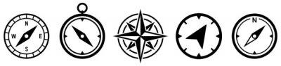 Naklejka Compass simple icon set. Compass symbol set. Wind rose icon. Vector