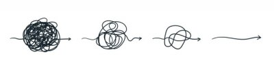 Naklejka Complex line. Complicated way. Messy ball concept. Loading idea vector process.