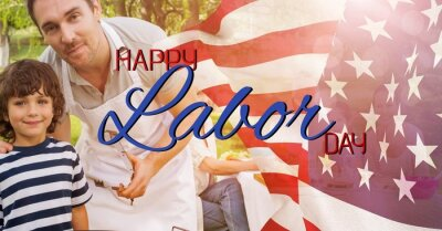 Naklejka Composition of text happy labor day over billowing american flag and happy family at barbecue