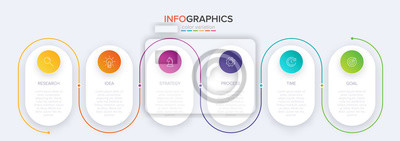 Naklejka Concept of arrow business model with 6 successive steps. Six colorful graphic elements. Timeline design for brochure, presentation. Infographic design layout