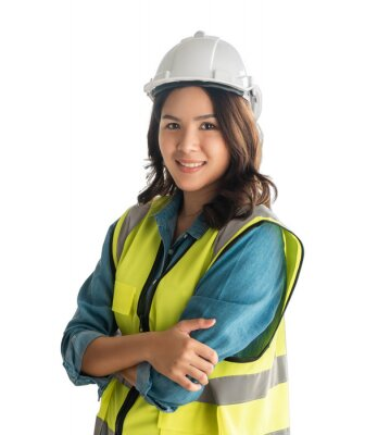 Naklejka Confidence Female asian Engineer with safety equipment isolated on white.