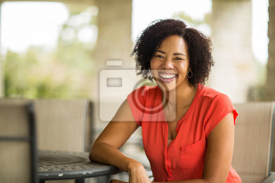 Naklejka Confident Happy African American Woman Smiling Outside