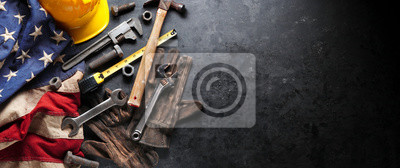 Naklejka Construction and manufacturing tools with patriotic US, USA, American flag on dark black background
