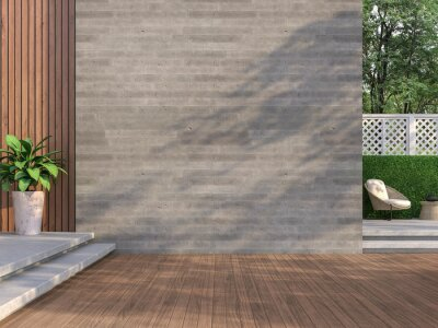 Naklejka Contemporary loft style balcony 3D render,There are wooden floors, empty concrete walls decorating living area with rattan furniture with white fences.