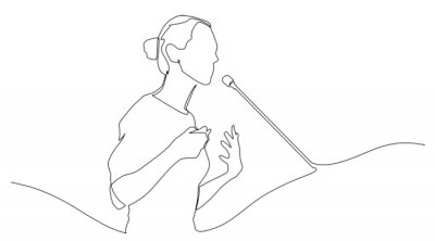 Naklejka Continuous line drawing business presentation woman trainer talking one single line drawn character politics speaker, business coach speaking before audience Political meeting speech