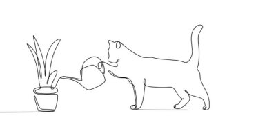 Naklejka continuous line drawing of cat animals watering plants.