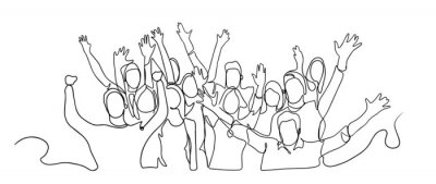 Naklejka Continuous line drawing of happy cheerful crowd of people. Cheerful crowd cheering illustration. Hands up. Group of applause people continuous one line vector drawing. Audience silhouette hand drawn.