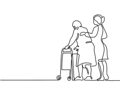 Naklejka Continuous line drawing. Young woman help old woman using a walking frame. Vector illustration