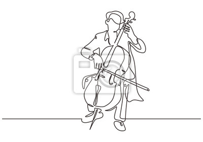 Naklejka Continuous one line cello music instrument. Person playing classical music instrument. Performance of man with orchestra theme on the stage.