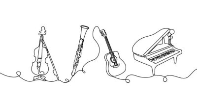 Naklejka Continuous one line drawing. Classical music instruments. Vector illustration set of violin, clarinet, acoustic guitar, and piano.