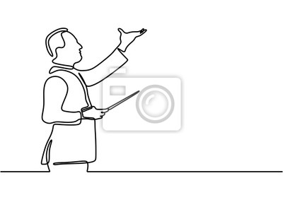 Naklejka Continuous one line drawing of a classical music leader. Conductor person doing lead gesture and raising hand vector illustration.