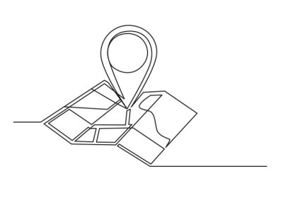 Naklejka Continuous one line drawing of an map point