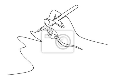 Naklejka Continuous one line drawing of hand writing minimalism style. Fingers holding ink pen or pencil to draw or write on paper.