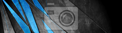 Naklejka Contrast blue and grey stripes. Abstract grunge tech banner design. Old wall concrete texture background. Vector illustration