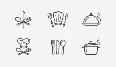 Naklejka Cooking icon set vector. Culinary, restaurant, cuisine symbol or logo