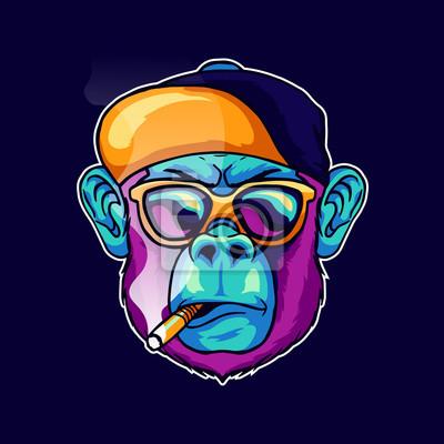 Naklejka cool face monkey smoke cigarette wear a stylish glasses and cap hat vector illustration. Pop art color animal gorilla head creative character mascot logo design