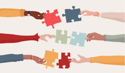 Naklejka Cooperation and collaboration concept. Hands holding a jigsaw puzzle piece which joins another puzzle piece. Communication between diverse people. Arms of multiethnic people. Team. Banner