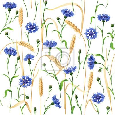 Cornflowers and Wheat Ears Pattern