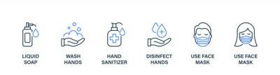 Naklejka Coronavirus Prevention Line Icon Set. Virus Precaution Banner. Sanitizer and Liquid Soap, Wash, Disinfect Hands, Use Face Mask Icon. Sign for Medical Poster. Editable stroke. Vector illustration