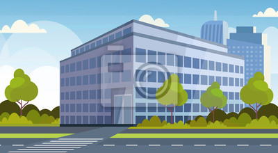 Naklejka corporate business center modern office building view cityscape background flat horizontal