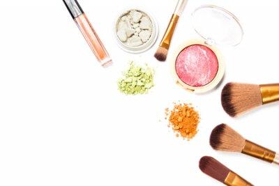 Naklejka Cosmetic makeup set ,Eyebrow pencil, lipstick and blush on ,on white background.