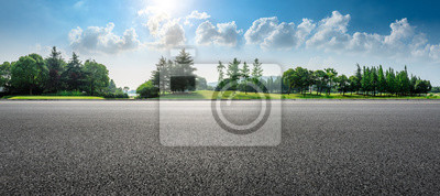 Naklejka Country asphalt road and green woods nature landscape in summer