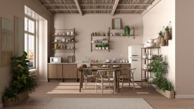 Naklejka Country kitchen, eco interior design in beige tones, sustainable parquet floor, dining table with chairs, wooden shelves and bamboo ceiling. Natural recyclable architecture concept
