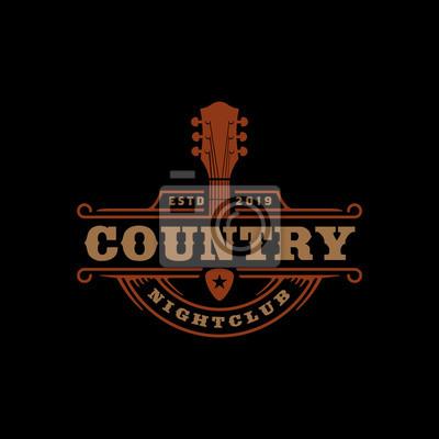 Naklejka Country Music Bar typography logo design