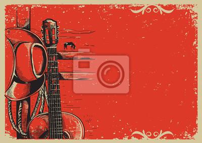 Naklejka country music plakat z kowbojski kapelusz i gitary rocznika poste
