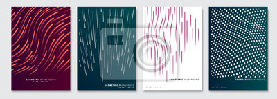 Naklejka Cover templates set, vector geometric abstract background. Flyer, presentation, brochure, banner, poster design.