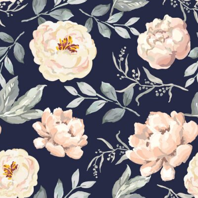 Naklejka Creamy blush peony flowers and gray leaves print, navy background. Delicate illustration. Vector seamless pattern. Botanical design. Floral graphic. Nature summer plants. Romantic wedding