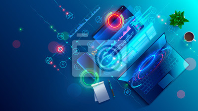 Naklejka Creating software and website for different digital platform desktop pc, laptop, tablet, mobile phone. Development, design and coding web and offline app. Designing interface and code of programs.