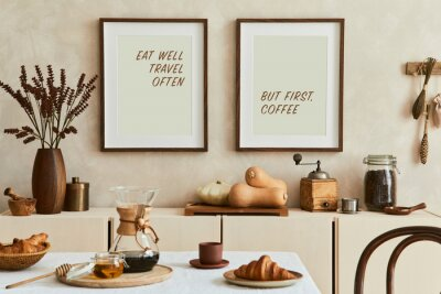Naklejka Creative and modern dining room interior design with mock up poster frames, beige sideboard, family dining table and retro inspired personal accessories. Copy space. Template. Autumn vibes..