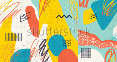 Naklejka Creative doodle art header with different shapes and textures. Collage. Vector