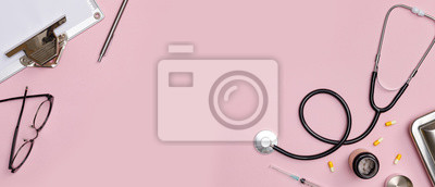 Naklejka Creative flatlay of doctor medical equipment pink table with stethoscope, medical documents, thermometer, syringe and pills, Health care concept, Top view with copy space for your text
