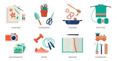 Naklejka Creative hobby ideas and recreational activities