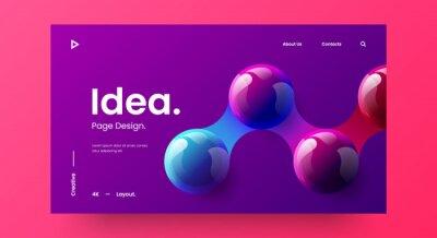 Naklejka Creative horizontal website screen part for responsive web design project development. 3D colorful balls geometric banner layout mock up. Corporate landing page block vector illustration template.