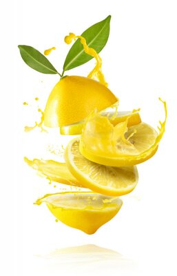 Naklejka creative image with fresh lemons falling in the air, zero gravity food conception