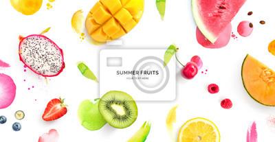Naklejka Creative layout made of dragonfruit, melon, watermelon, cherry, kiwi, strawberry, mango on the watercolor background. Flat lay. Food concept.