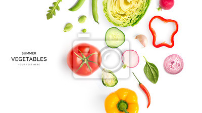 Naklejka Creative layout made of summer vegetables. Food concept. Tomatoes, onion, cucumber, green peas, garlic, cabbage, chilly pepper, yellow pepper, salad leaves and radish on white background.