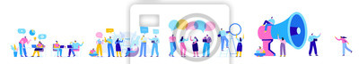 Naklejka Creative team characters flat vector horizontal banner. Discussion people. Office workers life. Team thinking and brainstorming.  Flat vector illustration